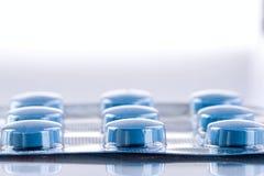 Blue medicine pills Royalty Free Stock Photography