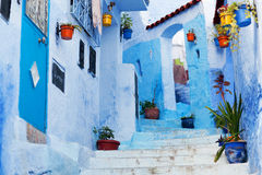 Blue medina of Chefchaouen city in Morocco, North Africa. Beautiful blue medina of Chefchaouen city in Morocco, North Africa Royalty Free Stock Photography