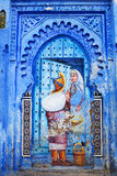 Blue medina of Chefchaouen city in Morocco, North Africa. Wall of blue medina of Chefchaouen city in Morocco, North Africa Royalty Free Stock Photography