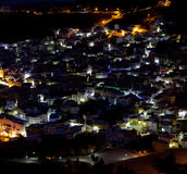 Blue medina of Chefchaouen, Morocco. Panorama of blue medina of Chefchaouen, Morocco. View at night Royalty Free Stock Photos