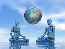Blue meditation for earth - 3D render Stock Image