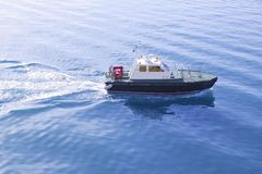 Blue Mediterranean Sea with pilots boat Royalty Free Stock Photos