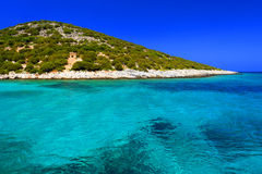 Mediterranean sea and Dodecanese Islands. Scenic view of the blue Mediterranean sea with the Dodecanese islands in the background, Greece stock photography