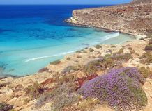 Blue Mediterranean Sea in South Italy. Blue Mediterranean Sea of the Lampedusa Island in South Italy royalty free stock photo