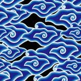 Blue Mega Mendung. This Artwork is Javanese traditional Batik motif called Mega Mendung Stock Photo