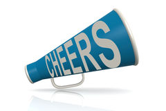 Blue megaphone with cheer word Stock Photography