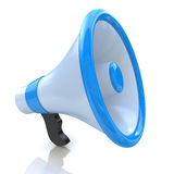 Blue megaphone. At registration information related to communications and voice Stock Photo