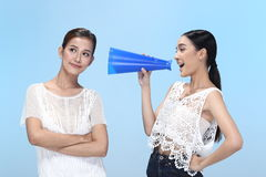 Blue Megaphone tell the world about my secret, concept. Group of Royalty Free Stock Image