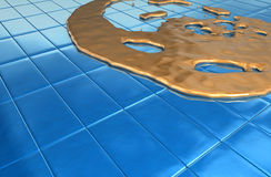 Blue melt gold. Blue reflective 3d floor with melting gold Royalty Free Stock Images