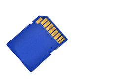 Blue memory SD card. Blue memory SD. card, isolated on white Stock Photography