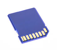 Blue memory SD card stock photography
