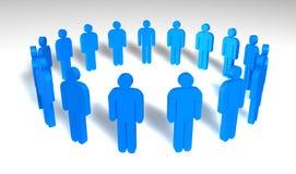 Blue men. Circle of blue men isolated on white background vector illustration