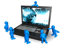 Blue Men Around a Laptop. A lot of funny puppets around a laptop Stock Images