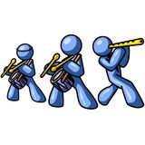 Blue men as musicians. Illustration depicting three blue men with musical instruments, white background Stock Image