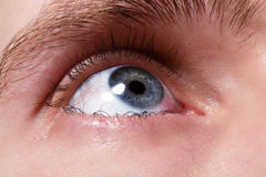 Blue men eye with red blood vessels Royalty Free Stock Photo