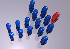 Blue men forming an arrow Stock Images