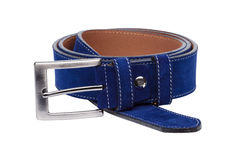 Blue men leather belt isolated on white Royalty Free Stock Photography