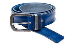 Blue men leather belt isolated on white Royalty Free Stock Images