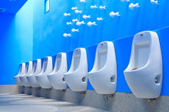 Blue men restroom Stock Photo