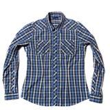 Blue Men`s shirt. Blue Check men`s shirt on white background Stock Image