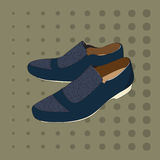 Blue men's shoes on a green background. Stock Images
