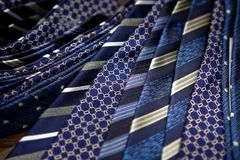 Blue men's ties Royalty Free Stock Images