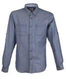 Blue men shirt. Isolated on white Royalty Free Stock Images