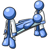 Blue Men with Stretcher Royalty Free Stock Photography