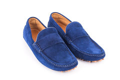 Blue mens suede leather loafers pair isolated on white backgroun Stock Photo