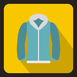 Blue mens winter jacket icon, flat style Royalty Free Stock Photography