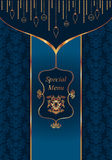 Blue menu. Template with elegant gold decoration Vector Illustration