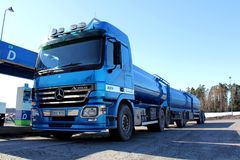 Blue Mercedes Benz Actros Heavy Duty Truck stock photo