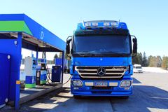 Blue Mercedes Benz Actros Heavy Duty Truck Stock Image