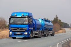 Blue Mercedes-Benz Actros Tank Truck on the Road Royalty Free Stock Photos
