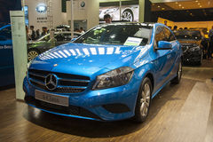 Blue mercedes-benz a-class car Stock Photos
