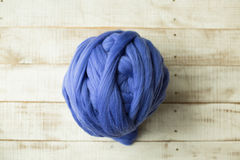 Blue merino wool ball Royalty Free Stock Photo