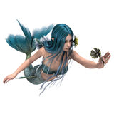 Blue Mermaid holding Sea Lily. 3D digital render of a  beautiful blue mermaid holding a sea lily flower isolated on white background Stock Photography