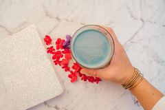 Blue mermaid latte with spirulina royalty free stock photos