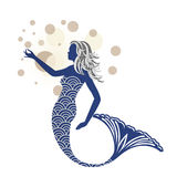 Blue Mermaid. With scaled body and water bubbles Stock Images