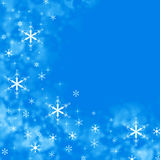 Blue Merry Christmas background with snowflakes Stock Images