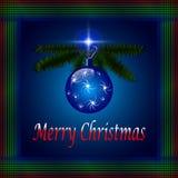 Blue Merry Christmas Card Stock Photography