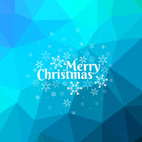 Blue Merry Christmas Card with Triangle Background. Merry Christmas card with snowflakes on blue abstract triangle mesh background Royalty Free Stock Photography
