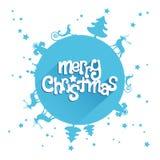 Blue Merry Christmas Design Greetings Card Royalty Free Stock Photos