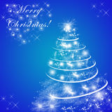 Blue Merry Christmas greeting card with Christmas tree Royalty Free Stock Image
