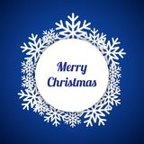 Blue Merry Christmas greeting card with snowflakes. Christmas blue background, vector illustration Stock Photography