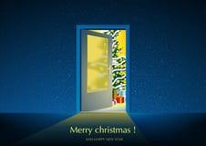 Blue Merry Christmas Greeting Stock Photos