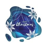 Blue Merry Christmas Greetings card. Snowfall. Paper cut snow flake. Happy New Year invitation. Winter snowflakes Royalty Free Stock Photography