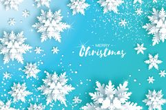 Blue Merry Christmas Greetings card. White Paper cut snow flake. Happy New Year Decoration. Winter snowflakes background Royalty Free Stock Photo