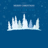 Blue Merry Christmas and Happy New Year card Stock Photography