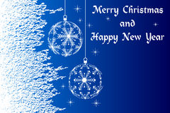 Blue Merry Christmas and Happy New Year Royalty Free Stock Photos